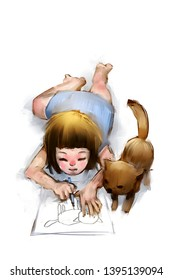 digital painting of kitten looking at cute girl drawing a picture, acrylic on canvas texture, story telling illustration