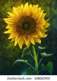 digital painting of a large yellow sunflower