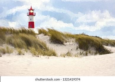 Digital painting - Lighthouse List-West on the island Sylt, Germany