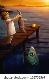 digital painting of a little girl feeding a cat to a fish in the ocean