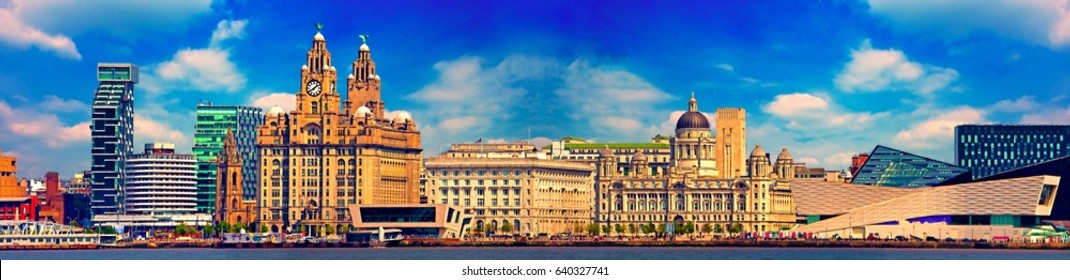 A digital painting of Liverpool's Historic Waterfront Buildings