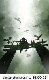 digital painting of ninja girl on temple gate with black crows, acrylic on canvas texture, story telling illustration