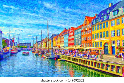 A digital painting of Nyhavn in Denmark which is a popular drinking and eating area for tourists in Copenhagen by the canalside.