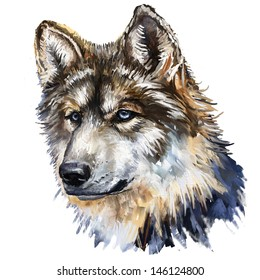 digital painting , oil painting, / gray wolf