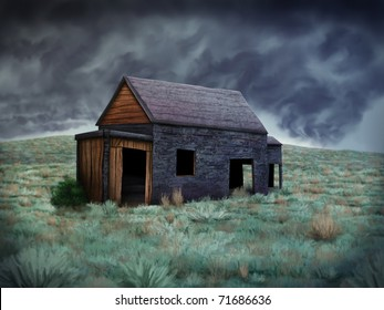 digital painting of an old abandoned shack standing alone on a hill under a dark and stormy sky
