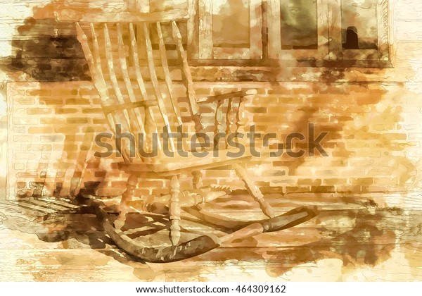 Peachy Digital Painting Old Rocking Chair Under Stock Illustration Spiritservingveterans Wood Chair Design Ideas Spiritservingveteransorg