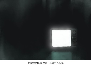 digital painting old television turn on in the dark room.copy space
