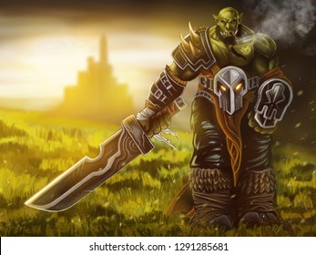 Digital painting Orc lord warrior smoking and holding a sword on grass filed and castle background