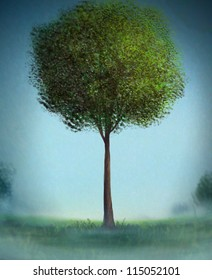 digital painting of a painterly tree with bushy green leaves