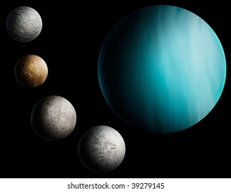 a digital painting of the planet Uranus and 4 of its many moons.