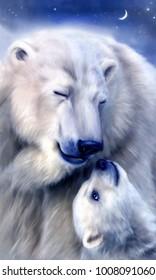 Digital painting of polar bears. Motherhood and childhood concept illustration.