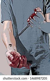Digital painting of psychotic murderer and a knife in his bloody hands
