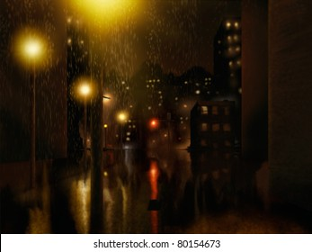 digital painting of a rainstorm in an urban night setting