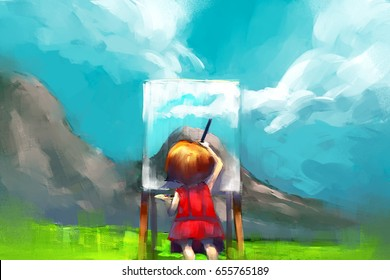digital painting of red dress girl painter working outdoors in the mountain, acrylic on canvas texture, story telling illustration