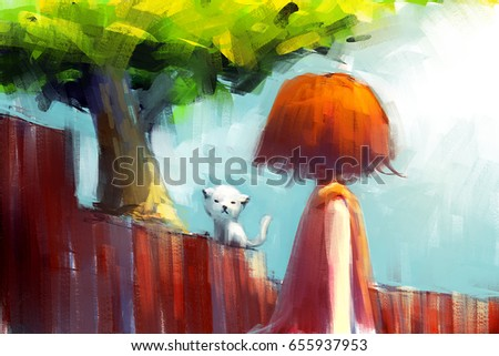 35a2137085ba Digital Painting Red Dress Girl Looking Stock Illustration - Royalty ...