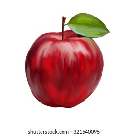 Digital painting of a ripe apple on white background