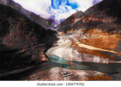 Digital painting of River in valley at Ladakh Region, India