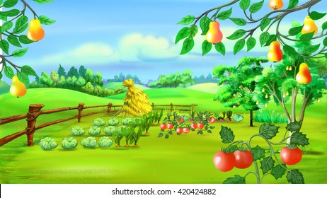 Digital painting of the Rural landscape with Kitchen Garden.