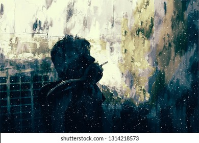 Digital painting of sad man thinking something in bed room, illustration of depression of people, smoking man in dark tone