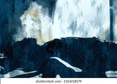 Digital painting of sad man thinking something in bed room, illustration of depression of people