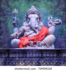Digital Painting Sculpture Hindu God Ganesha.