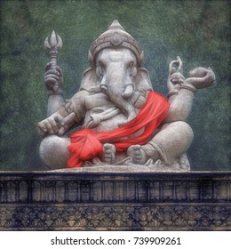 Digital Painting Sculpture Hindu God Ganesha.
