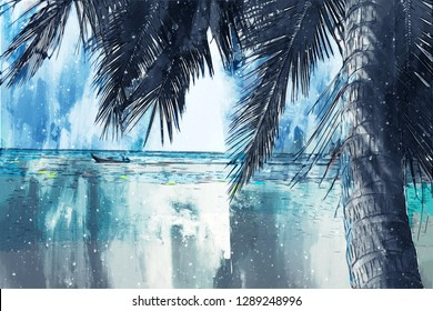 Digital painting of sea beach by brushed texture, coconut palm tree on sand beach, illustration texture for background