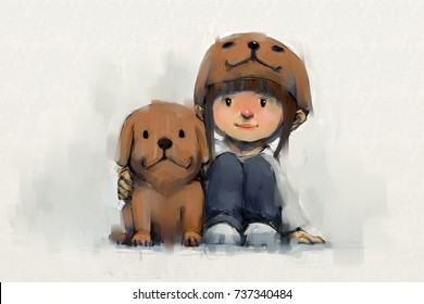 digital painting set of girl in puppy hat with her dog, acrylic on canvas texture, story telling illustration