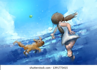 digital painting set of young girl playing with a dog, acrylic on canvas texture, story telling illustration
