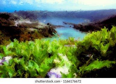 Digital Painting of Sete Cidades on Sao Miguel, Azores