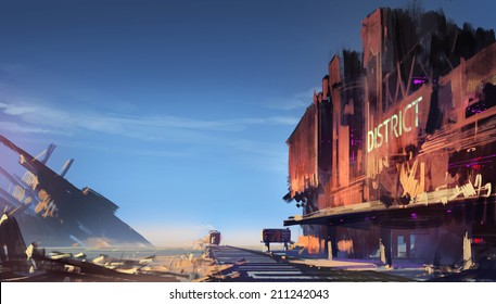 Digital painting showing the ruined train station
