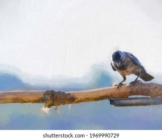 Digital painting of a single passerine western jackdaw, Coloeus monedula, also known as the Eurasian jackdaw, European  jackdaw of the crow family, on a perch in the UK