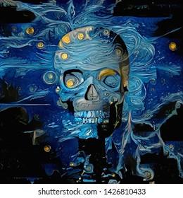 Digital painting. Skull in blue colors. 3D rendering