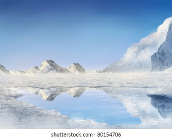 digital painting of snow covered mountains reflected in a frozen lake