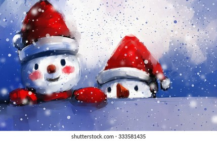 digital painting of snowman and friends in winter, oil on canvas texture.