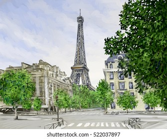 Digital painting - Street View of Paris, France, Eiffel tower