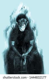 Digital painting of stress man with gun, monotone image