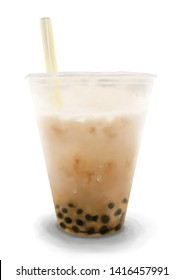 The Digital Painting of Taiwanese Brown Sugar Bubble Milk Tea in Realism Art Style