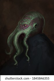 Digital painting of tentacled octopus cthulhu monster on abstract background - digital fantasy illustration