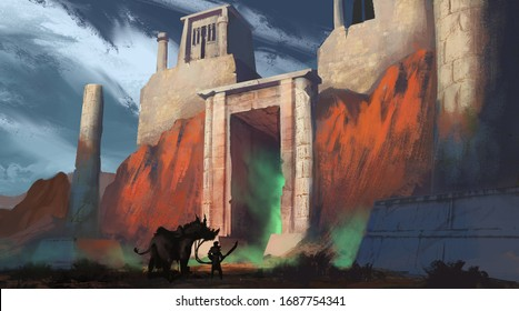 Digital painting of a traveler with a sword approaching a mysterious temple gate emitting glowing green mist - fantasy illustration
