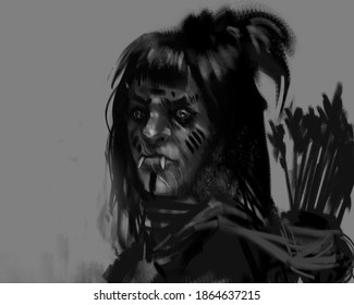 digital painting of a tribal orc character with arrow sling on her back - fantasy illustration
