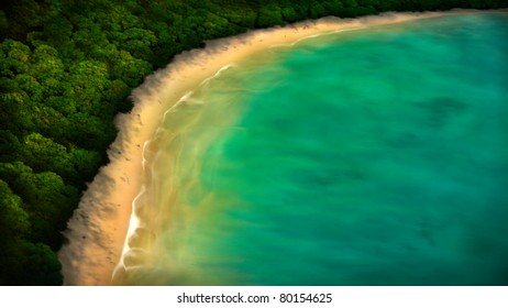 digital painting of a tropical coastline from an aerial view