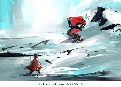 digital painting of walking in the snow to red robot, acrylic sketched on canvas texture, story telling illustration