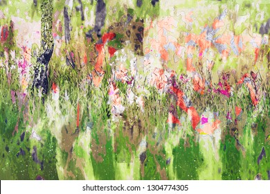 Digital painting of wild flowers by brushing, illustration of wild flowers for background