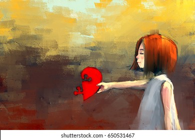 digital painting of witch girl with red puzzle heart, acrylic sketched on canvas texture, story telling illustration