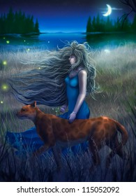 digital painting of a woman and a large cat walking through tall grass near a crescent moon reflected in dark water