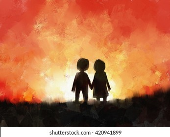 Digital Painting Young Couple Love Holding Stock Illustration