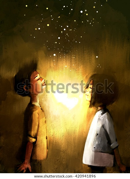 Digital Painting Young Couple Love Glowing Stock Illustration 420941896