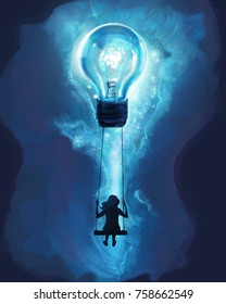 Digital Painting of Young woman sitting on a swing with Light Bulb, Creative of thinking concept,illustration painting.
