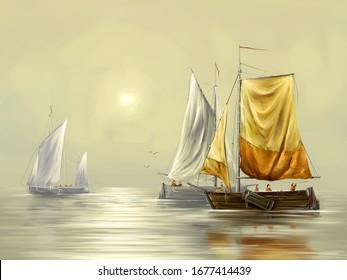 Digital paintings sea landscape, sailing boat on the sea. Fine art.
